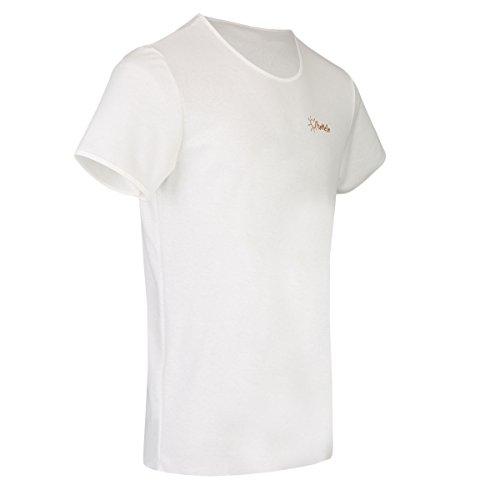 TanMeOn Durchbräunendes T-Shirt für Herren, T-Shirt braun werden, Schnitt Rundhals, Farben: Weiss, Blau oder Grau, Größen S, M, L, XL, XXL (Weiß, XXL)