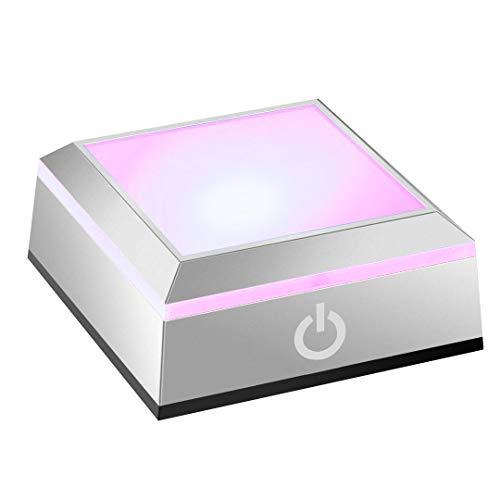 Across(アクロース) ハーバリウム LED ライト コースター クリスマス レインボー ディスプレイ 照明台座 タッチスイッチ式 電池 コンセント両用