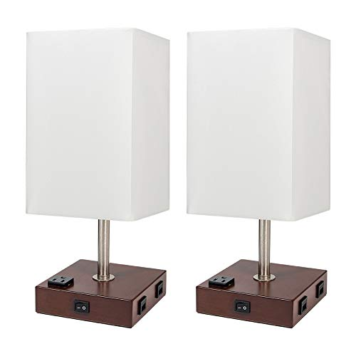 DEEPLITE Lamps for Bedrooms Set of 2, Bedside Lamp with USB Port and Outlet, Wood Nightstand Lamp with White Shade, Rustic Lamps for Living Room, Night Table, End/Side Table Top