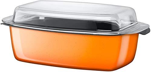 Silit Passion Orange Cocotte à induction 39 x 22 x 15 cm Cocotte avec couvercle en verre 5,3 l Céramique fonctionnelle Silargan Passe au four Orange
