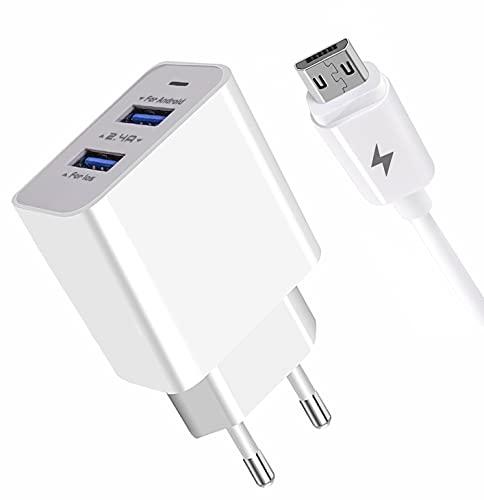 APOKIN® Cargador Micro USB Carga Rápida Doble USB 2.4A Adaptador de Carga USB 3.0 Cargador Compatible Samsung Huawei Xiaomi OPPO Realme LG TCL Vivo iPad