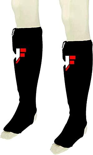 KIKFIT Nero Elasticizzato Shin Collo del Piede Guardie MMA, Arti Marziali Kickboxing Large/X Large