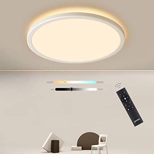 Oeegoo LED Deckenleuchte Dimmbar mit Fernbedienung, 24W Ultraslim Deckenlampe mit Dimmbar Hintergrundbeleuchtung, IP40 Wasserdicht LED Leuchten für Badezimmer, Schlafzimmer, 3000K-6500K, φ30*2.5/CM