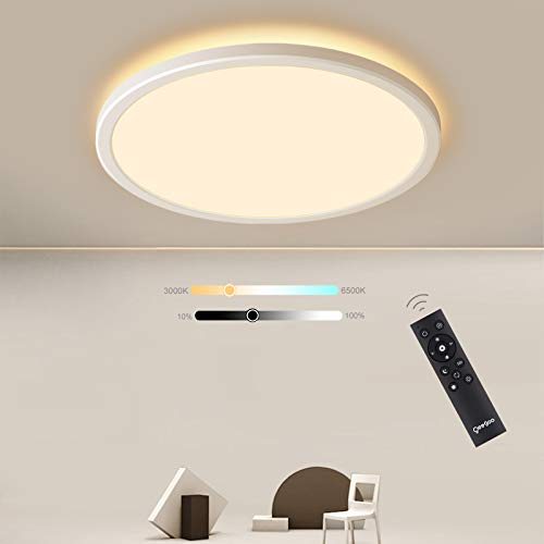 Oeegoo plafón LED techo Regulable 24W 2000LM, plafón superficie 2.5CM, LED techo con Control Remoto, Lámpara de techo LED ajustable 3000K-6500K, IP40 luz techo para Dormitorio Salón Pasillo Oficina