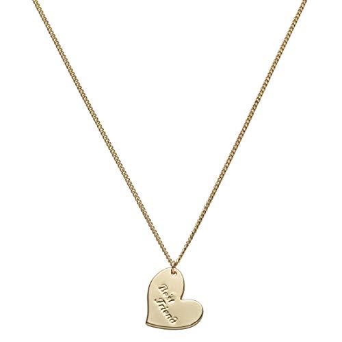 Draeger Paris – Collar de fantasía de metal dorado con corazón Best Friend – sin níquel – 45 cm – Ideal para regalo personalizado y diseño