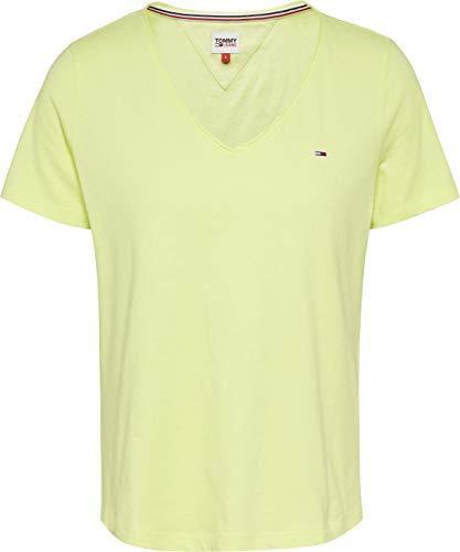 Tommy Hilfiger Tjw Slim Jersey V Neck Camiseta, Verde (Faded Lime), L para Mujer