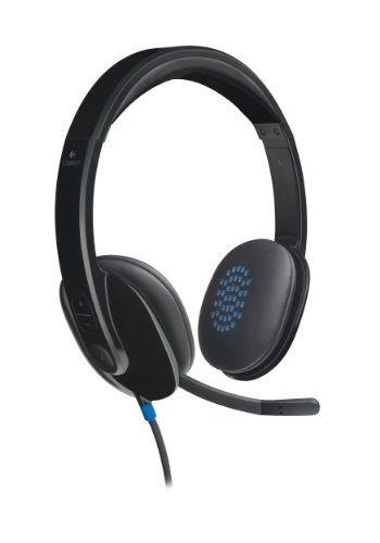 Logitech H540 Kopfhörer mit Mikrofon, Stereo-Headset, Verstellbares Mikrofon mit Rauschunterdrückung, Integrierte Equalizer, Bedienelemente am Ohr, Stummschaltungsanzeige, USB-Anschluss, PC/Mac/Laptop