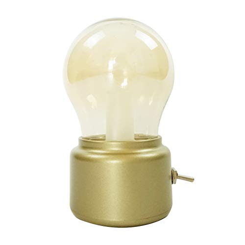 Uonlytech - Lámpara de Mesa de Estilo Vintage, LED, Recargable, luz Nocturna Creativa para cafetería, Comedor, Cocina, Dormitorio, Regalo (Dorada)