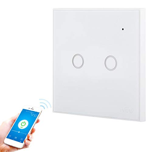 DAUERHAFT Interruptor de luz Inteligente de Lujo Resistente al Fuego para Google Home(2 Way)