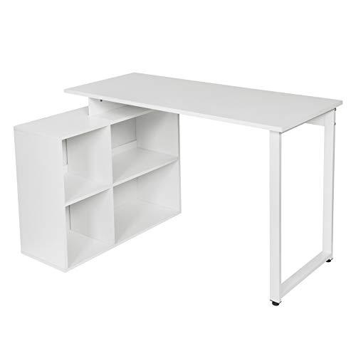 EUGAD 0077ZZ Schreibtische Computertisch PC-Tisch Bürotisch Arbeitstisch mit Ablagen Holz Weiß 116x75x80cm
