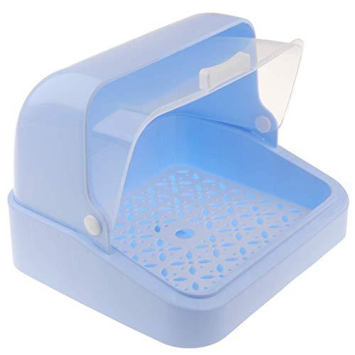 Babyflaschen-Abtropfgestell mit Staubschutz – Aufbewahrungsbox für Stillflaschen – Essgeschirr-Organizer – Blau, 30 x 26,5 x 22 cm, Blau