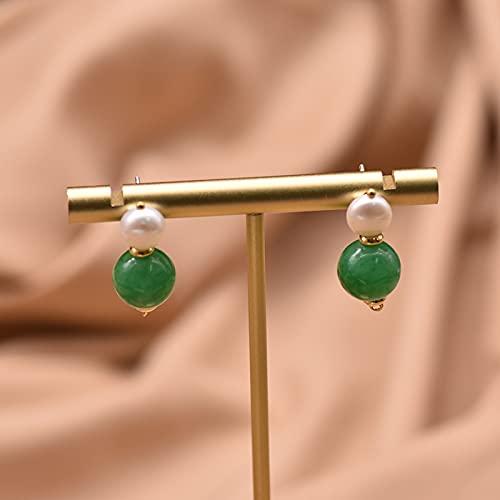 SALAN Perle d'eau Douce Naturelle Et Boucles d'oreilles Rondes Vertes Faites À La Main Femmes Boucles d'oreilles Émeraude Bijoux