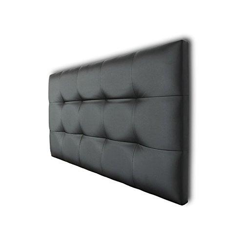 Ventadecolchones - Cabecero de Cama Tapizado Acolchado de Dormitorio en Polipiel con capitoné Modelo Tablet en Color Negro y Medidas 200 x 70 cm para Camas de 180 ó 200