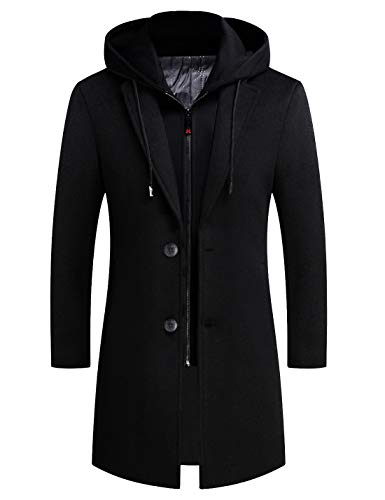 zeetoo Men's Wool Trench Coat Winter Slim Fit Wool Jacket Long Peacoat Hooded Overcoat Plus Cotton Medium