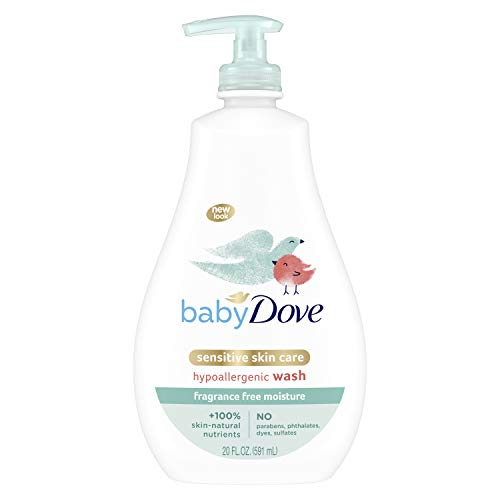 Baby Dove Sensitive Skin Care Baby Wash For Baby Bath Time Fragrance Free Moisture Fragrance Free and Hypoallergenic, Washes Away Bacteria 20 oz