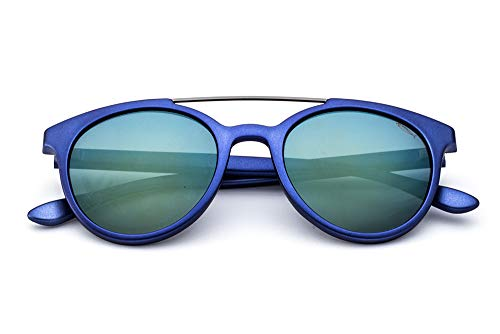Saraghina | Gafas de sol Gerry Azul satinado metálico Lente Flash Verde Azul | SAR_GERRY-221HT - DA SOLE