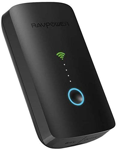 RAVPower FileHub Plus, Dual Band Wireless Travel Router, USB Port, SD Card Slot, 6700mAh External...