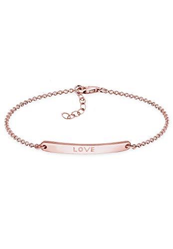 Elli Damen-Armband Love Schriftzug Liebe Freundschaft rosé vergoldet silber 925 0202850116_17 - 17cm Länge
