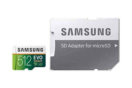 Samsung EVO Select 512 GB microSD 100 MB/s, velocidad Full HD & 4K UHD tarjeta de memoria incluye adaptador SD para…
