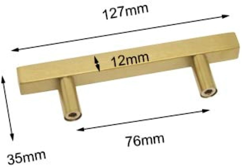 Probrico 6 Pack gold Brushed Door Cabinet Kitchen Handles for Furniture Drawer Knobs Cupboard Wardrobe Closet Dresser Pulls  (color  Hole Center 76mm)