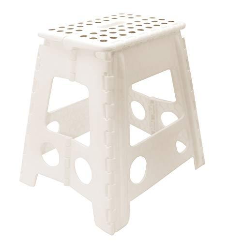 ZOLLNER Tritthocker, klappbar, stabil, ca. 39 cm hoch, Kunststoff, weiß