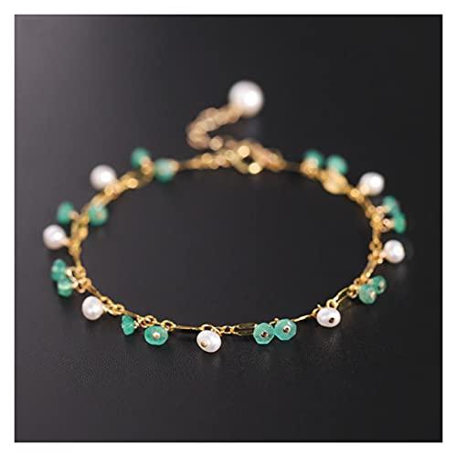 WJCRYPD Pulseras para Mujer Gypsophila Emeralda Pulsera Mujeres S Piedras Gemstones Natural Amarillo 14k Inyección de Oro Joyería de Perlas de Agua Dulce Emeralda China 15 Qf Shop (Color : Emerald)