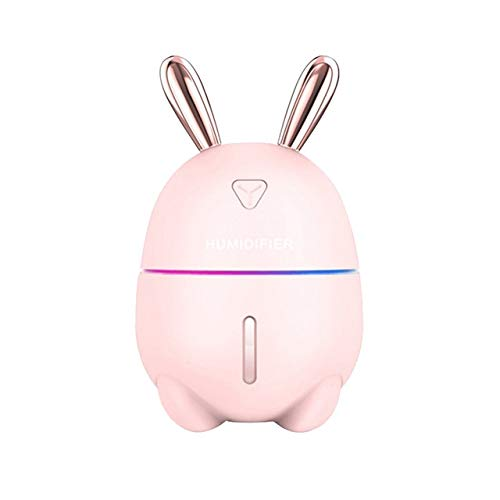 Kunyun 300ml Mini humidificador de Aire Lindo Conejo USB Aroma Esencial Aceite Difusor Colorido Noche Luz de Coche Purificador de Aire Purificador Mistán Fabricante. (Color : Pink)