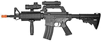 well mr744 m16a4 spring airsoft mr-744 m16 assault rifle - red cross scope - tactical flash light - red dot scope - adjustable stock   fps - 266   Airsoft Gun