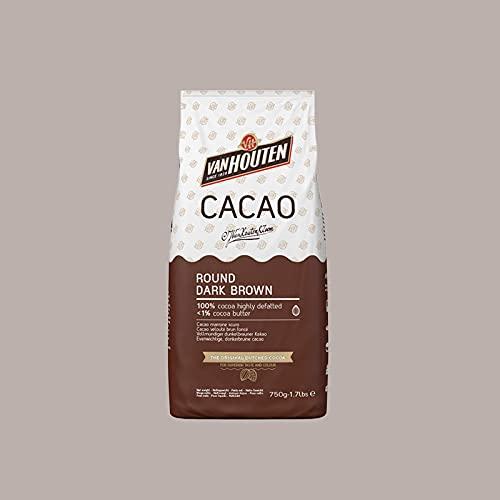 Lucgel Srl 750 gr Cacao in Polvere Round Dark Brown Van Houten Callebaut ALTAMENTE POVERO di GRASSO...