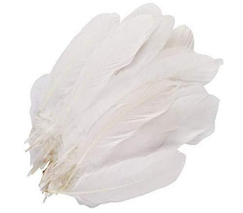 100 plumas de ganso blanco puro de 15 a 9 pulgadas de color blanco puro, accesorios de manualidades para manualidades de jardín de infancia grandes plumas para el hogar, bodas, cumpleaños