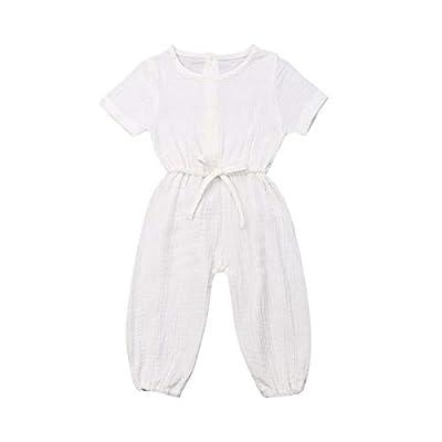 Mubineo Toddler Baby Girl Summer Fall Basic Plain Short Sleeve Cotton Linen Drawstring Romper Jumpsuit (White, 2-3T)