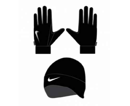 Nike Damen Dri-Fit Women's Running Beanie/Glove Set Handschuhe/mützen, Black/Silver, XS