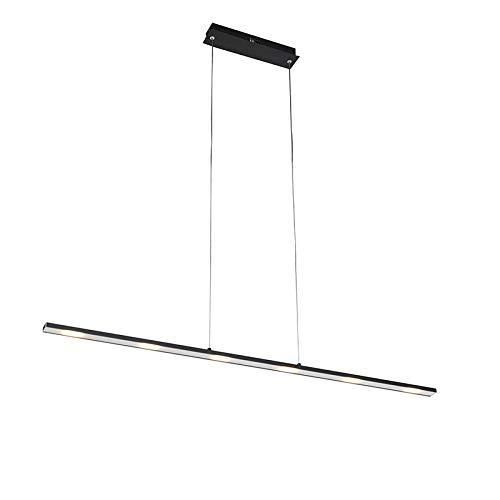 QAZQA - Design Hängelampe | Pendellampe | Pendelleuchte | Esstisch | Esszimmer schwarz inkl. LED mit Touchdimmer - Platin Touch-funktion Dimmer | Dimmbar | Wohnzimmer | Küche - Stahl Länglich - | (nic