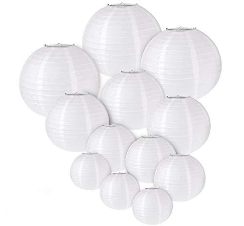 """ilauke 12pcs Lampion Papier Blanc Lanterne Blanche à Papier Rond Lampe pour Anniversaire Décorations de Mariage Décorations Artisanales (6"""" 8"""" 10"""" 12"""")"""