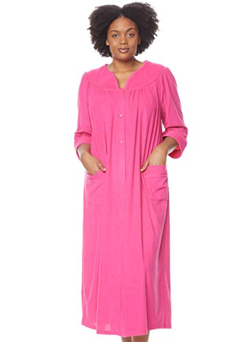 AmeriMark Terry Knit Long Robe Duster Loungewear Snap Front Large Patch Pockets Fuchsia XL