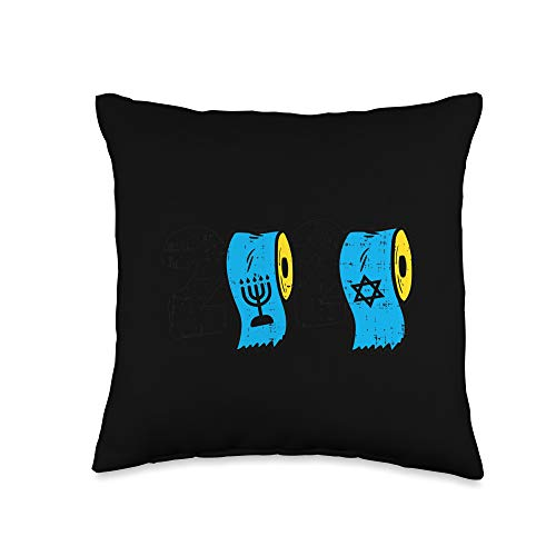 Hanukkah Quarantine Pillows Social Distance 2020 2020 Toilet Paper Menorah Jew Star Hanukkah Quarantine Gift Throw Pillow, 16x16, Multicolor