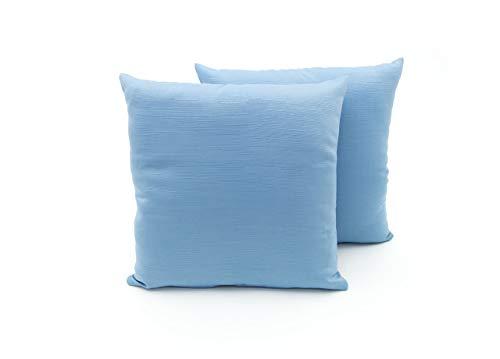 BIANCHERIAWEB Coppia Cuscini Arredo Imbottiti Tessuto Ottoman in Tinta Unita Colore Azzurro 31 40x40 Azzurro 31