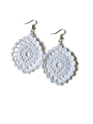 Boucles d'oreilles blanches en dentelle cadeau mariage pour son crochet fait à la main ovale sicily