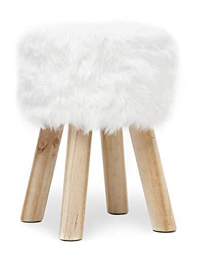 Fell Hocker Massiv Holz Sitzhocker Pouf Hocker Polsterhocker Holzhocker Fußbank Kunstfell Rund aus 4 Holzbeine für Schlafzimmer Wohnzimmer Korridor Büro Weiß