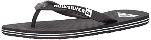Quiksilver Men's Molokai 3-Point Flip Flop Sandal, Black/Black/White, 12 M US