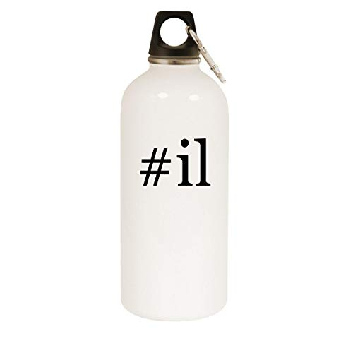 #il - 20oz Hashtag Stainless Steel White Water Bottle with Carabiner, White