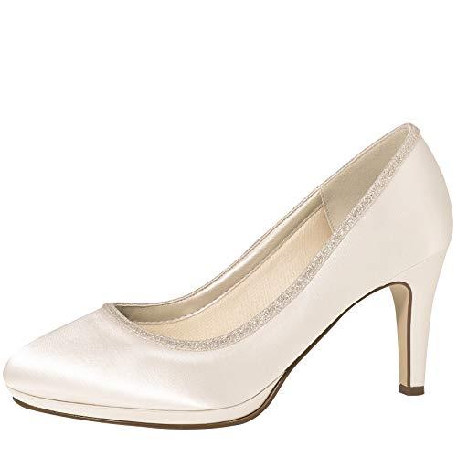 Rainbow Club Brautschuhe Yanna Satin Schuhe 7,5 cm FÄRBBAR High Heels Pumps Ivory (39 EU)