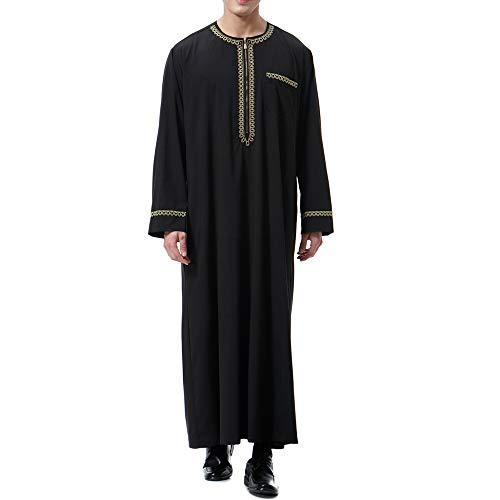 Sfit Muslim Arab Robe Kaftan Lang Ethnische Islamisch Dubai Gewand O-Ausschnitt Lange Ärmel Retro Tuniken Lose Einfarbig Hemd Robe Kleid mit TaschenZip