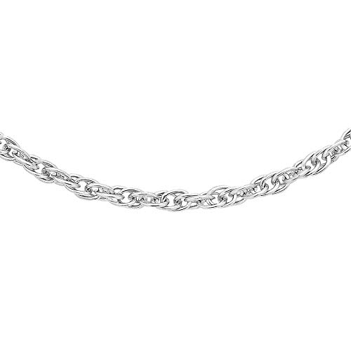 TJC 9ct White Gold Prince of Wales Chain Necklace for Women & Men Size 20', a Perfect and Memorable Father's Day, Mother's Day, Birthday, Friendship Day, Valentine's Day Chain Necklace Gift