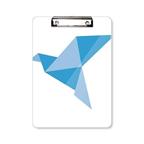Blauwe Origami Abstract Duif Patroon Klembord Folder Schrijven Pad Achterplaat A4