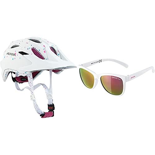 ALPINA Unisex - Kinder, Carapax JR. Fahrradhelm, White Polka dots, 51-56 cm & Unisex - Kinder, LUZY Sonnenbrille, White Gloss, One Size