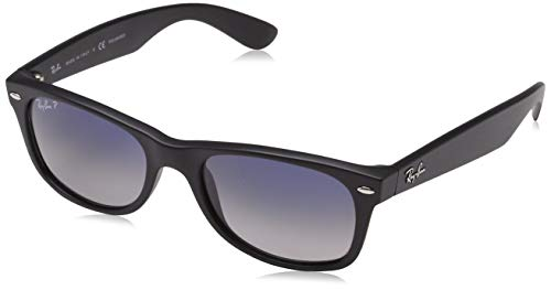 Ray-Ban Unisex New Wayfarer Polarized Sunglasses, Black/Polarized Blue/Grey Gradient, Blue Gradient Grey, 55mm