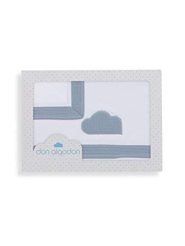 Sabanas 100% Algodón CUNA 60X120, 3 Piezas - Cloud Petroleo (bajera ajustable + encimera + funda almohada) - Fabricado en España