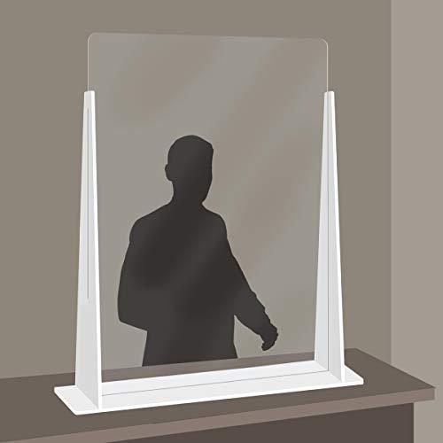 Parasputi da banco PRXN - Parete divisoria, Parafiato in Plexiglass e Forex - Protezione in plexiglass trasparente con base colorata BIANCA (75x80 cm)