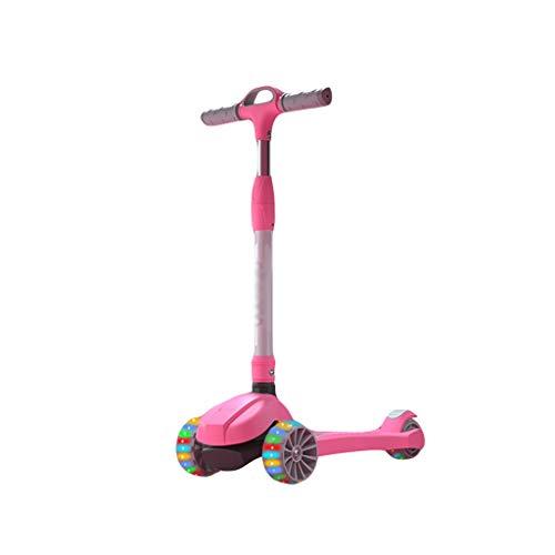 ZHIHUI Scooter Patinete Scooters para Niños de 3 a 14 Años De Edad, Ruedas Intermitentes para Niños Plegables Patear Scooter Altura Ajustable Scooter (Color : Pink)